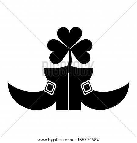 silhouette boots leprachaun clover st patrick day vector illustration eps 10