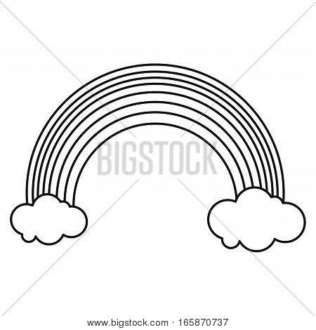 rainbow clouds emblem st patrick day outline vector illustration eps 10