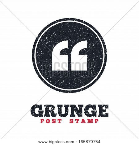 Grunge post stamp. Circle banner or label. Quote sign icon. Quotation mark symbol. Double quotes at the beginning of words. Dirty textured web button. Vector