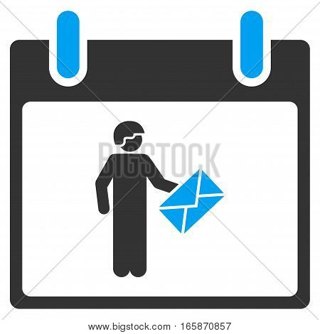 Postman Calendar Day vector toolbar icon. Style is bicolor flat icon symbol blue and gray colors white background.