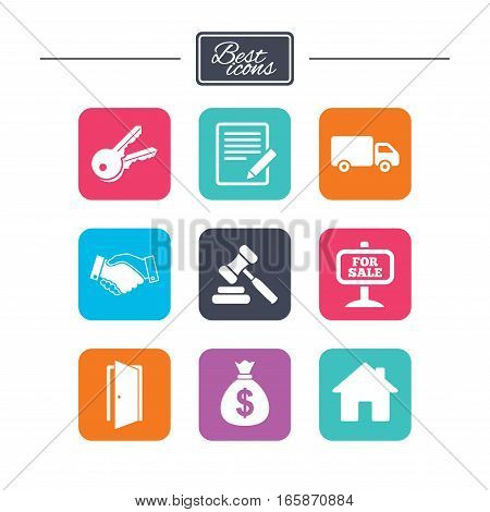 Real estate, auction icons. Handshake, for sale and money bag signs. Keys, delivery truck and door symbols. Colorful flat square buttons with icons. Vector