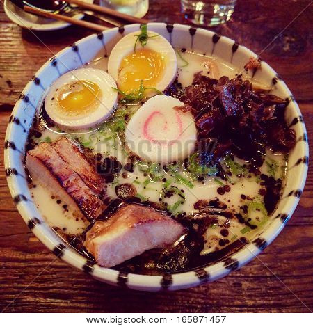 Japanese tonkatsu ramen with port and eggs