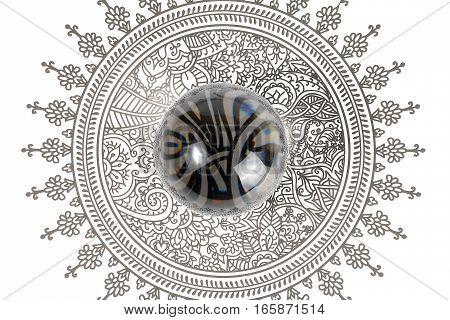Glass Crystal Ball over design art on white background