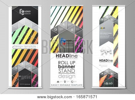 Set of roll up banner stands, flat design templates, abstract geometric style, modern business concept, corporate vertical vector flyers, flag banner layouts. Bright color rectangles, colorful design, geometric rectangular shapes forming abstract beautifu