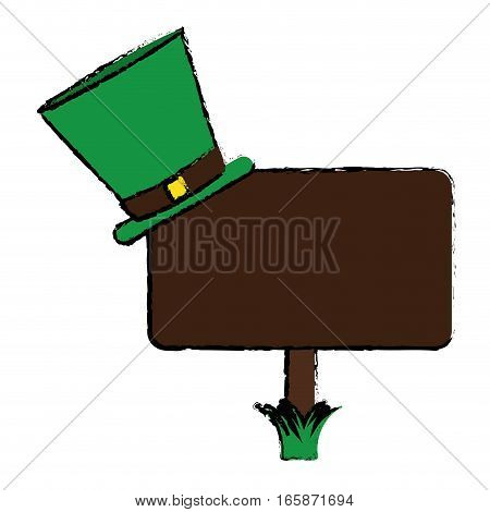 cartoon wooden sign st patrick day hat vector illustration eps 10