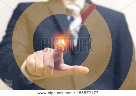 Double exposure dart target with arrow on bullseye with businessman Goal target success business concept abstract background