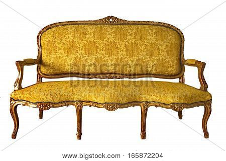 vintage luxury yellow sofa isolated on a white background