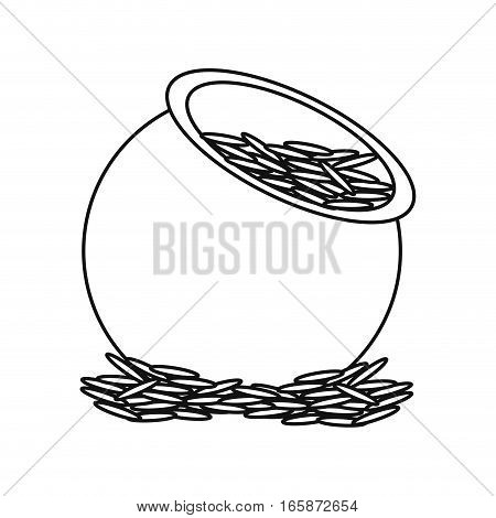 saint patrick day pot full coins treasure outline vector illustration eps 10