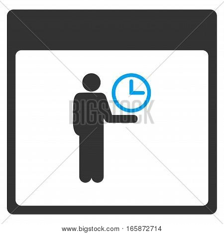 Time Manager Calendar Page vector toolbar icon. Style is bicolor flat icon symbol blue and gray colors white background.