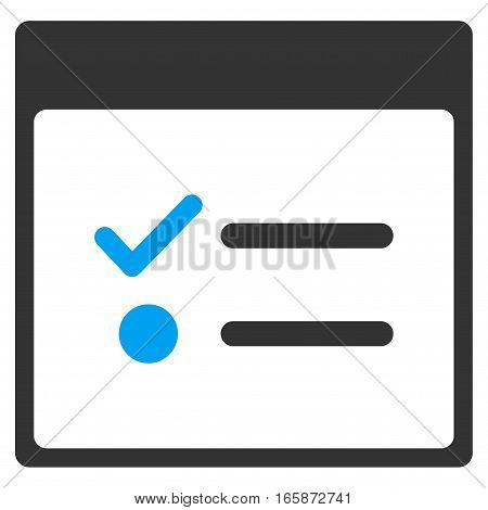 Todo Items Calendar Page vector toolbar icon. Style is bicolor flat icon symbol blue and gray colors white background.