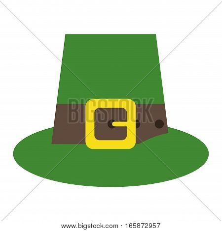 green saint patrick day top hat with buckle vector illustration eps 10