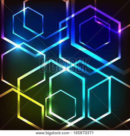 Abstract colorful glowing background with hexagons, stock vector