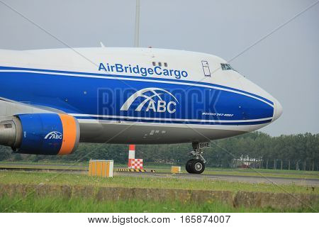 Amsterdam The Netherlands - August 10 2015: VQ-BHE AirBridgeCargo Boeing 747-4KZF taxing on the Polderbaan runway to the main terminal of Amsterdam Schiphol Airport