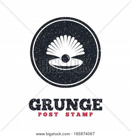 Grunge post stamp. Circle banner or label. Sea shell with pearl sign icon. Conch symbol. Travel icon. Dirty textured web button. Vector