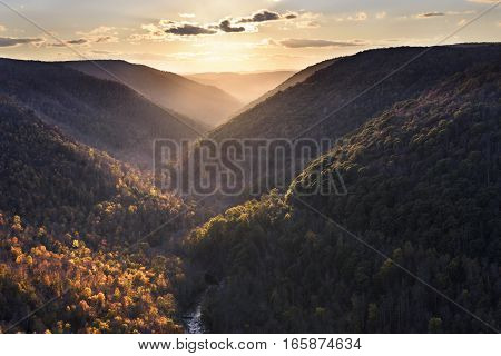 Sun Lighting Mountains in Fall Colors - West Virginia