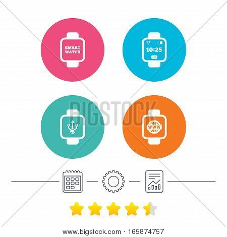Smart watch icons. Wrist digital time watch symbols. USB data, Globe internet and wi-fi signs. Calendar, cogwheel and report linear icons. Star vote ranking. Vector