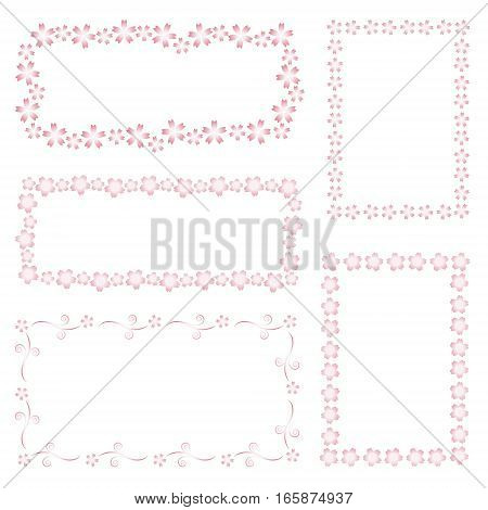 various different decorative cherry blossom frames pink gradation