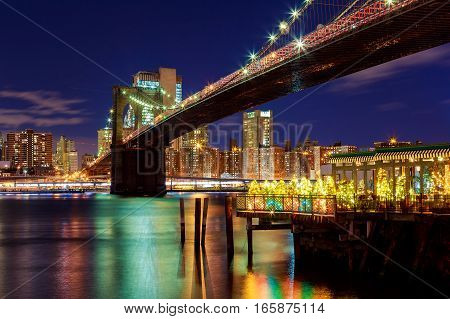 Brooklyn Bridge Closeup Over Night In New York City Manhattan With Lights
