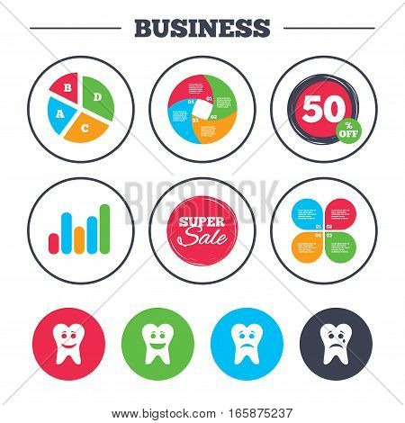 Business pie chart. Growth graph. Tooth smile face icons. Happy, sad, cry signs. Happy smiley chat symbol. Sadness depression and crying signs. Super sale and discount buttons. Vector