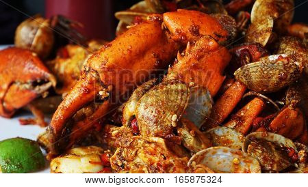 Seafood for dinner / Seafood prominently includes fish and shellfish.
