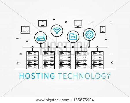 Data Hosting Infrastructure with server system. Analysis infrastructure for server room with different devices and icons. Vector illustration linear concept.