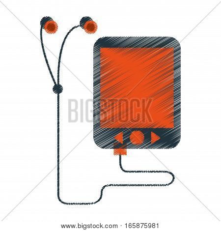 drawing mp3 device play music earphones vector illustration eps 10