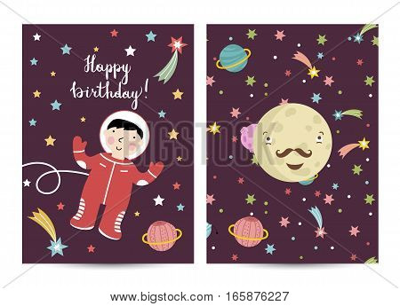 Happy birthday cartoon greeting card on space. Astronaut in cosmos flying in weightlessness, smiling mustached Mercury. Bright invitation on childrens costumed party. Greeting card for kids. Cartoon space on happy birthday greeting cards