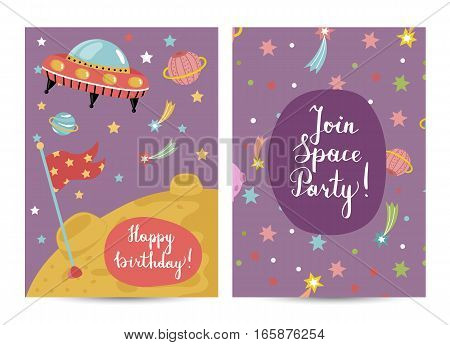 Happy birthday cartoon greeting card on space theme. Alien spaceship flying in cosmos, stars, planets. Bright invitation on childrens costumed party. Greeting card for kids. Cartoon space on happy birthday greeting cards