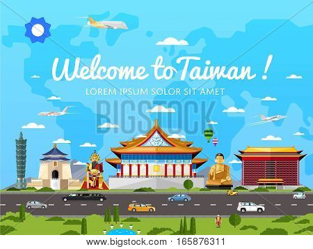 Welcome to Taiwan poster with famous attractions vector illustration. Travel design with asian statue, ancient temple and monument. Worldwide traveling, taiwan landmark, time to travel concept. Travel concept design.