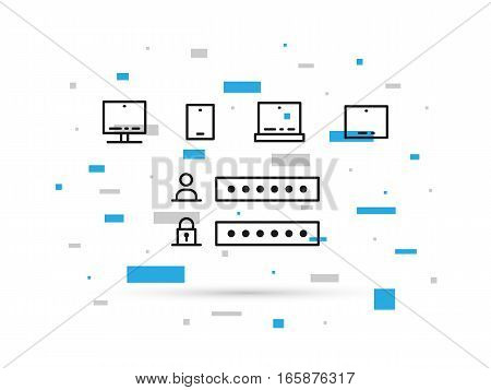 Access window for digital devices desktop laptop smartphone tablet vector illustration. Authentication management creative concept. Login account and password security design.