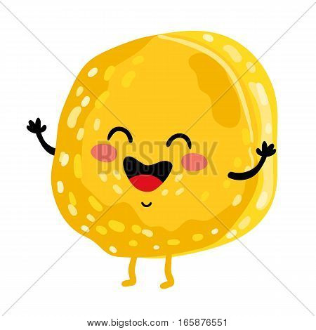 Cute cookie cartoon character isolated on white background vector illustration. Funny positive and friendly sweet dessert emoticon face icon. Happy smile cartoon face food, comical brownie mascot