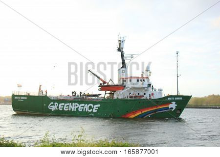Velsen The Netherlands - May 9 2015: Arctic Sunrise on North Sea Canal. Arctic Sunrise is a vessel operated by Greenpeace. It has been involved in various campaigns including anti-whaling campaigns.