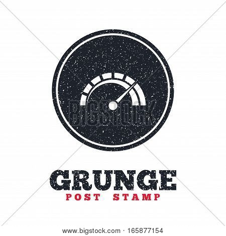 Grunge post stamp. Circle banner or label. Tachometer sign icon. Revolution-counter symbol. Car speedometer performance. Dirty textured web button. Vector