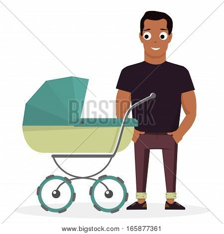 Young father with a baby carriage on the background of white. Cartoon illustration.