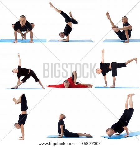 Set collection of sporty flexible man practicing yoga on white isolated studio background