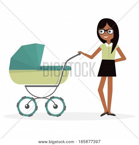 Mother with baby stroller. Illustration young woman and pram.