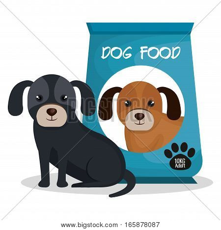 cute dog with bag food mascot icon vector illustration design