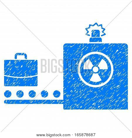Baggage Screening grainy textured icon for overlay watermark stamps. Flat symbol with dust texture. Dotted vector blue ink rubber seal stamp with grunge design on a white background.