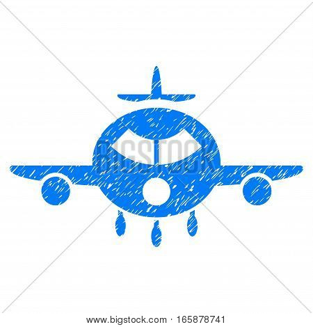 Cargo Aircraft grainy textured icon for overlay watermark stamps. Flat symbol with unclean texture. Dotted vector blue ink rubber seal stamp with grunge design on a white background.