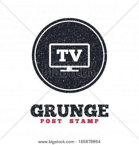 Grunge post stamp. Circle banner or label. Widescreen TV sign icon. Television set symbol. Dirty textured web button. Vector