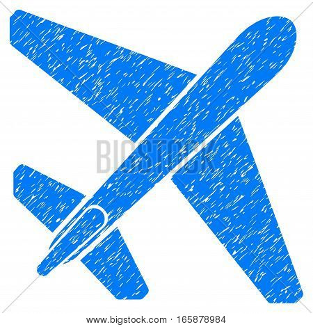 Jet Airplane grainy textured icon for overlay watermark stamps. Flat symbol with unclean texture. Dotted vector blue ink rubber seal stamp with grunge design on a white background.
