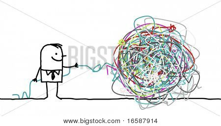 hand drawn cartoon character - man untangling a knot