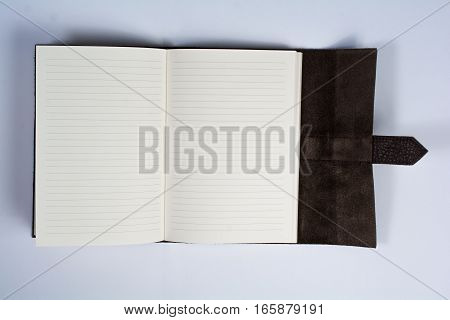Bound Leather Journal Book Opened Isolated On White Top View