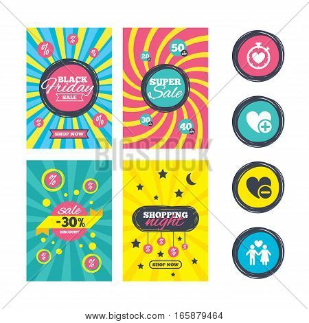 Sale website banner templates. Valentine day love icons. Love heart timer symbol. Couple lovers sign. Add new love relationship. Ads promotional material. Vector