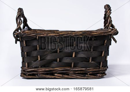 Empty Square Wicker Basket Isolated On White Front View