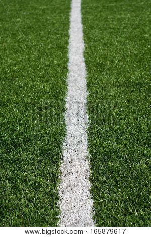 Green Soccer Field Turf With White Painted Line
