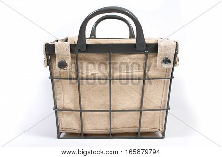 Metal Wire Basket With Cloth Interior And Handles Front View