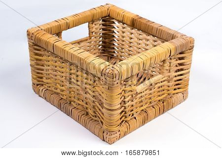 Square Wicker Basket Isolated On White Perspective View