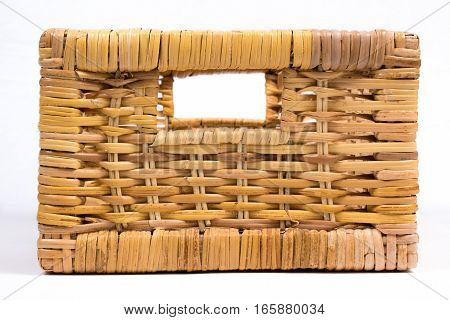 Square Wicker Basket Isolated On White Side View