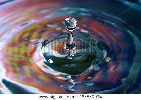 Splash Of Colored Water With Droplet From Small A Drip